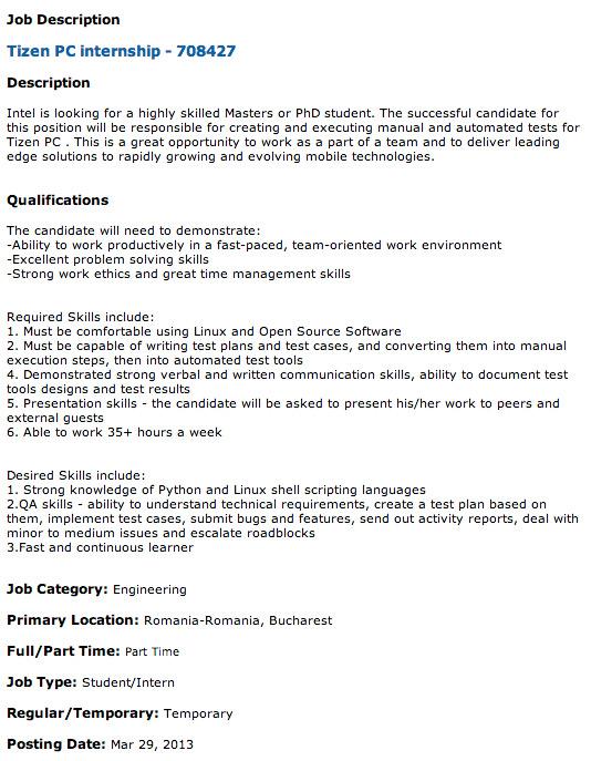 Intel PC Tizen job apply