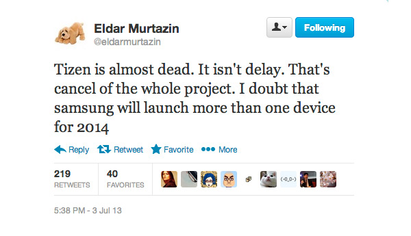Eldar Murtazin Tizen is almost dead twitter