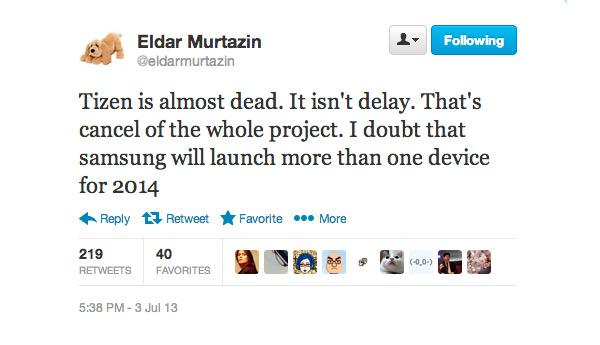 Eldar Murtazin Tizen is almost dead twitter